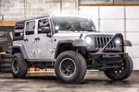 Jeep Wrangler with LED Light Bar and Headlights